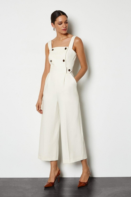 Karen Millen Sleek And Sharp Ivory, Ivory Jumpsuit