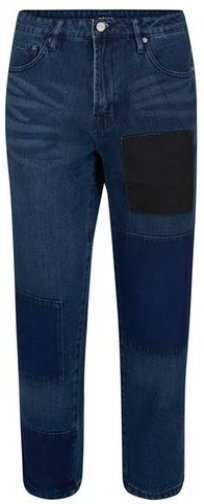 Topman Mens WAVEN Dark Blue Patchwork Loose Fit *, Blue Jeans