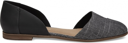 Toms Black Leather Chambray Women's Jutti D'orsay Shoes Flats