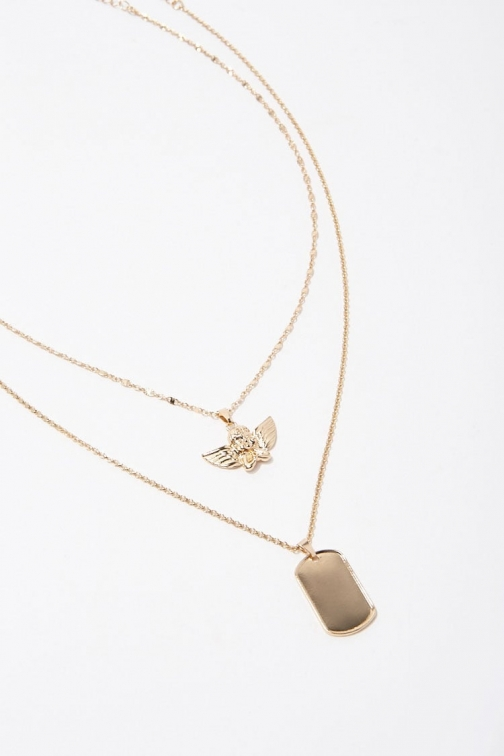Forever21 Forever 21 Angel Pendant Necklace Set , Gold Jewellery