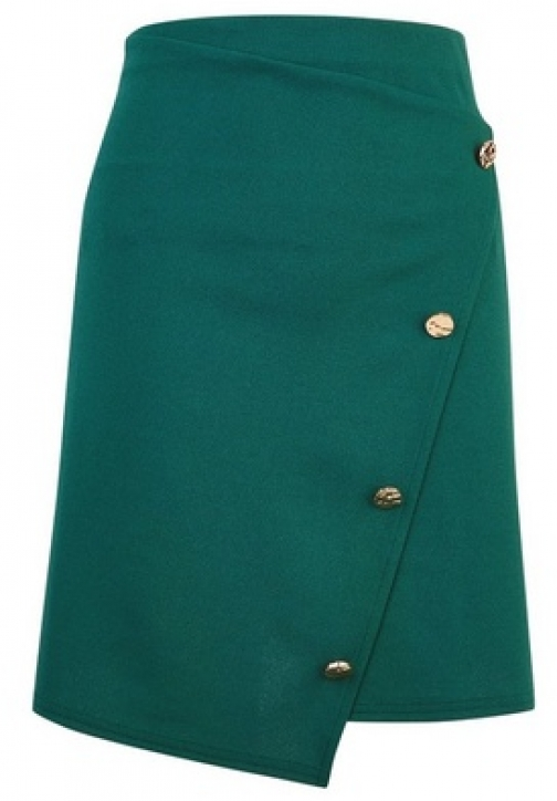 Dorothy Perkins Green Asymmetric Skirt