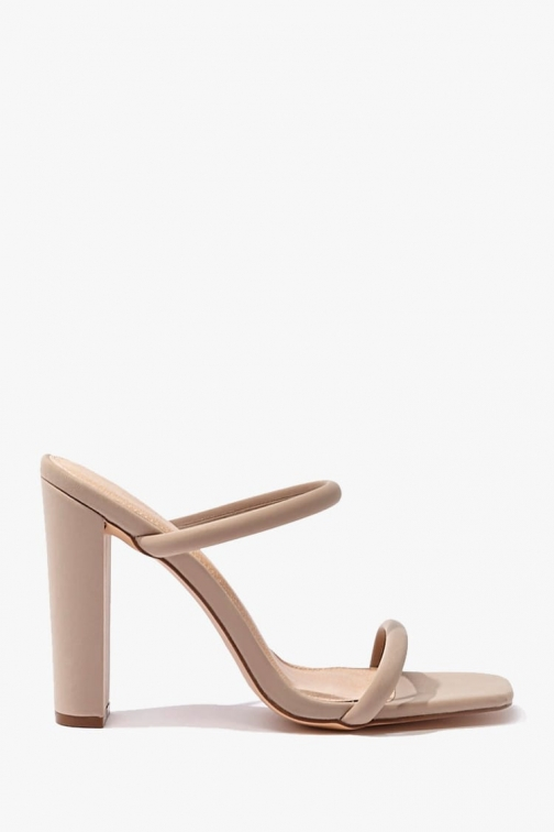 Forever21 Forever 21 Open-Square Toe Block Heels , Taupe Shoes