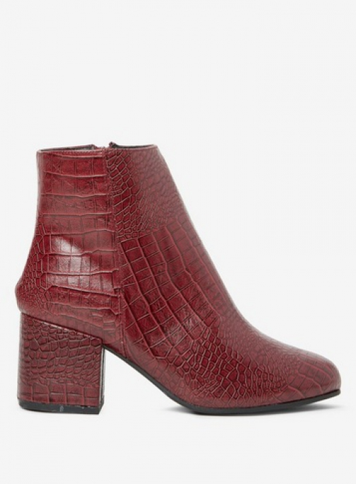 Dorothy Perkins Wide Fit Burgundy 'Aubree' Croc Ankle Boot