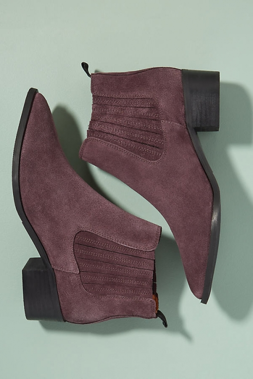 Anthropologie Selected Femme Jessie Suede Cowboy - Purple, Size Boot