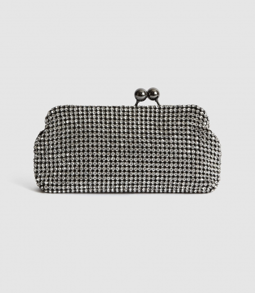 Reiss Bell - Embellished Silver, Womens Clutch