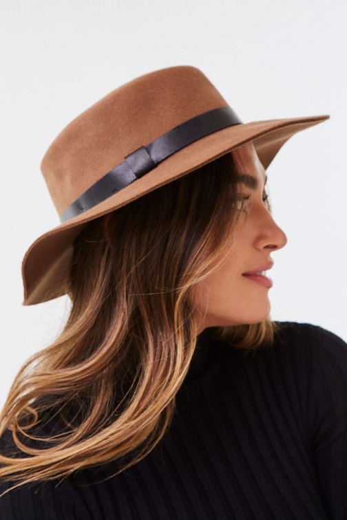 Forever21 Forever 21 Wide-Brim Wool Boater , Cocoa/black Hat
