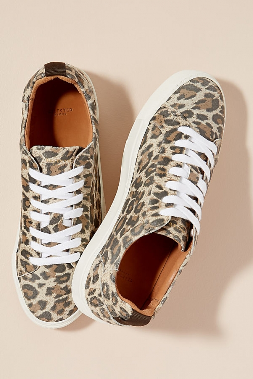 Selected Femme Leopard-Print Leather Trainer