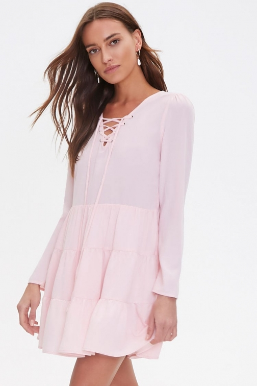 Forever21 Forever 21 Lace-Up Flounce , Light Pink Mini Dress