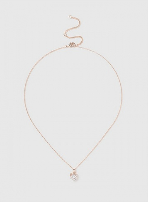 Dorothy Perkins Rose Gold Cubic Zirconia Heart Necklace