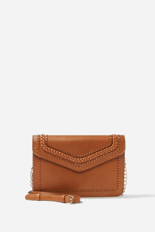 Forever21 Forever 21 Faux Leather , Tan Crossbody Bag
