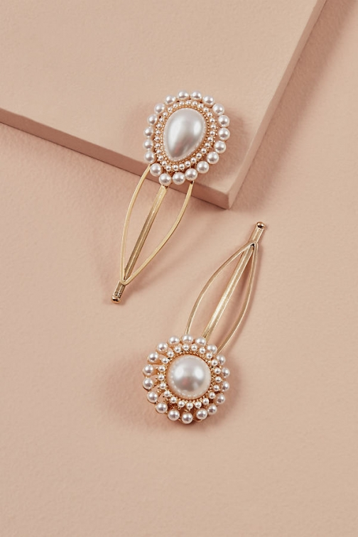 Anthropologie Pack Of 2 Faux-Pearl Flower Hair Slides Slider