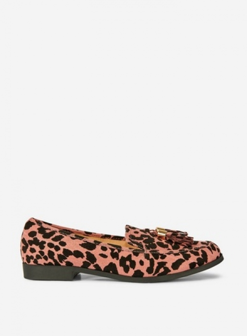 Dorothy Perkins Pink Leopard Print 'Lille' Loafers Shoes