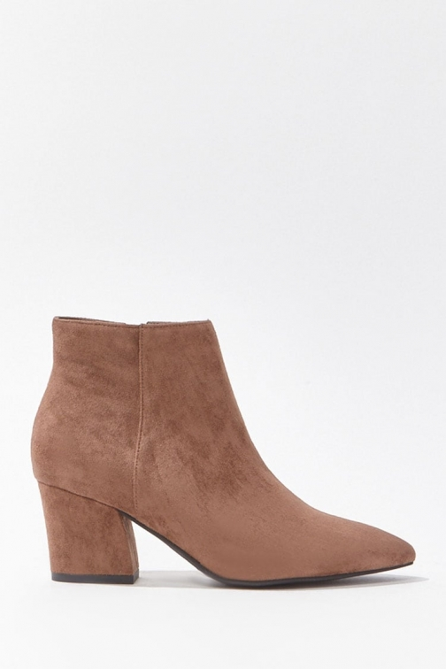 Forever21 Forever 21 Faux Suede Pointed Booties , Brown Boot