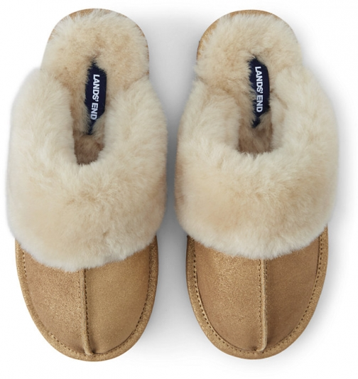 Lands' End Women's Suede Leather Shearling Fur Scuff - Lands' End - Metallic - 6 Slippers