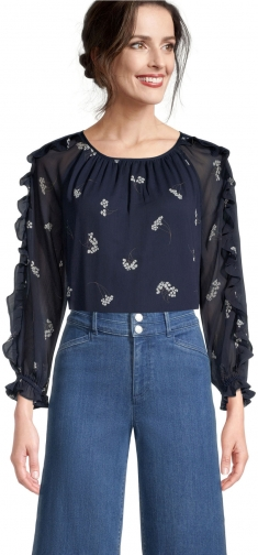 Ann Taylor Factory Petite Floral Ruffle Sleeve Blouse