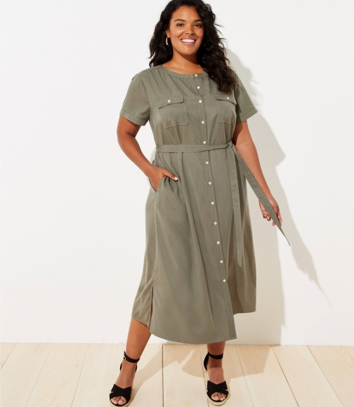 Loft Plus Drapey Utility Shirtdress Shirt Dress