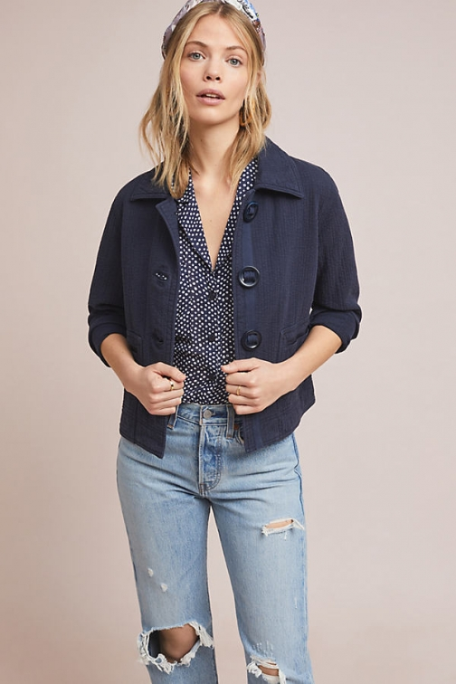 Anthropologie Racquel Cropped Jacket
