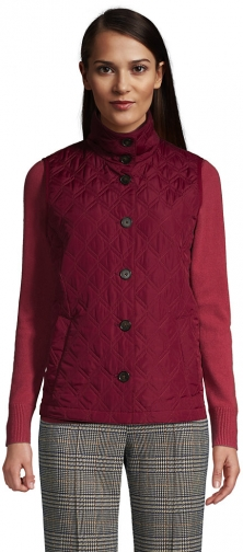 Lands' End Women's Petite Insulated Packable Quilted Barn Vest - Lands' End - Red - S Top