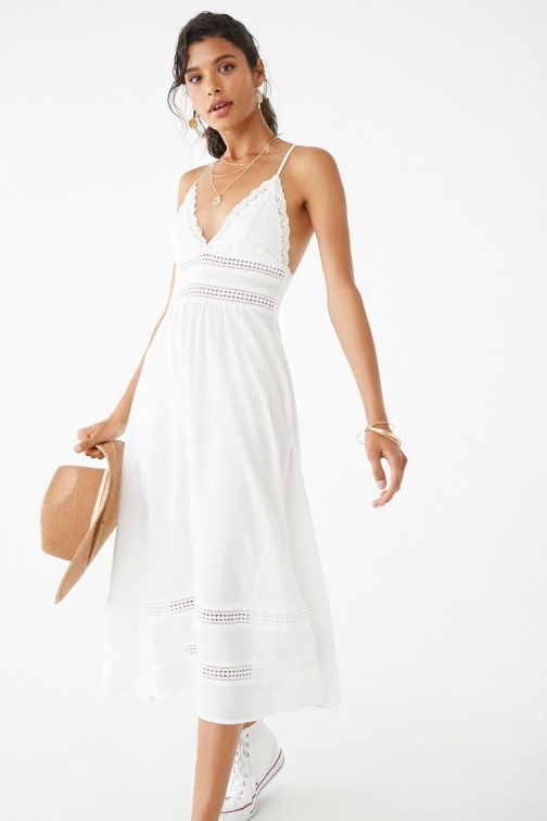 Forever21 Forever 21 Crochet-Trim Lace-Up Cami , Ivory Dress