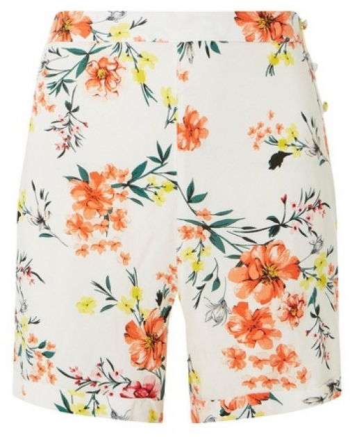 Dorothy Perkins Womens Ivory Floral Side Button - Ivory, Ivory Short