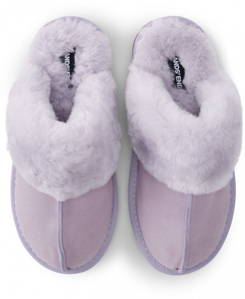 Lands' End Women's Suede Leather Shearling Fur Scuff - Lands' End - Purple - 6 Slippers
