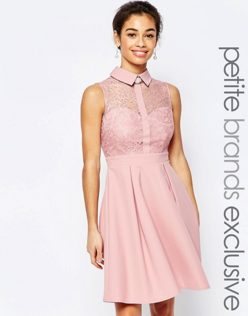 Asos Paper Dolls Petite Lace Prom With Detail Collar
