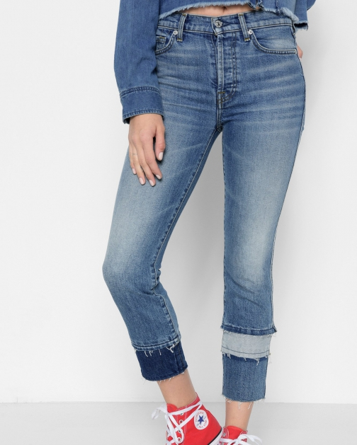 7 For All Mankind Women's Edie With Multi Fray Vintage Blue Dunes Cuff