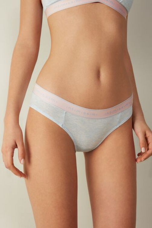 Intimissimi Sporty Cotton Panties Woman Blue Size 4 Brief