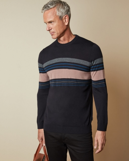 Ted Baker Tall Striped Crew Neck Jumper