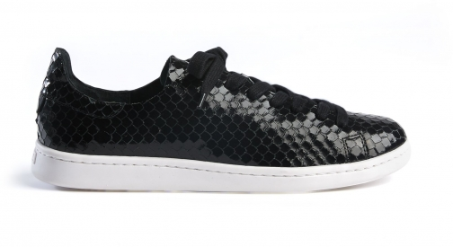 Schutz Shoes Ofelia Sneaker - 5.5 Black Snake Embossed Leather Trainer