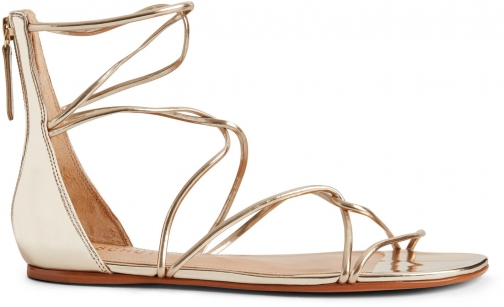 Schutz Shoes Fabia Flat Sandal - 5 Platina Gold Specchio Leather Sandals