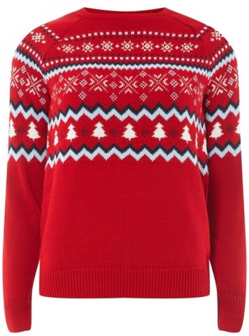 Dorothy Perkins Womens Red Fairisle Christmas - Red, Red Jumper