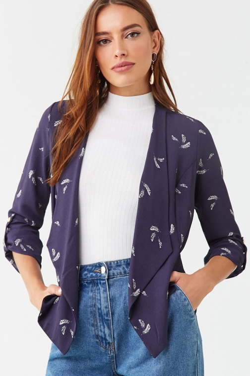 Forever21 Forever 21 Feather Print , Navy/cream Cardigan