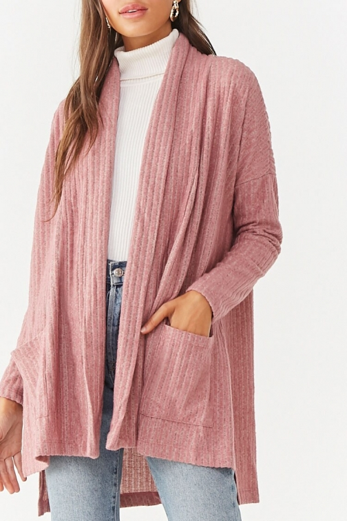Forever21 Forever 21 Brushed Ribbed , Mauve Cardigan