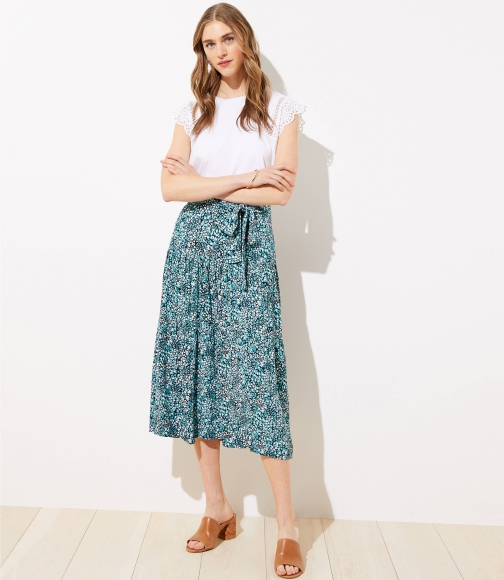 Loft Wildflower Tie Waist Midi Skirt