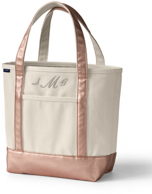 Lands' End Medium Natural Rose Gold Open Top Canvas Bag - Lands' End - Ivory Tote