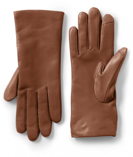 Lands' End Women's EZ Touch Screen Cashmere Lined Leather - Lands' End - Brown - S Glove