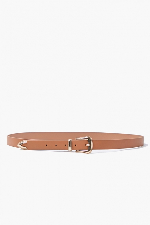 Forever21 Forever 21 Faux Leather , Tan/gold Belt