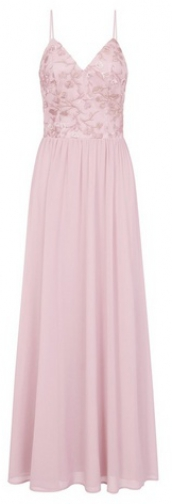 Chi Chi London Pink Floral Embroidered Maxi Dress