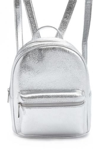 Forever21 Forever 21 Faux Leather Metallic , Silver Backpack
