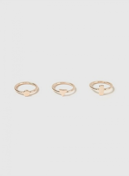 Dorothy Perkins Womens Rose Gold Simple Geometric Shape Pack- Rose Gold, Rose Gold Ring