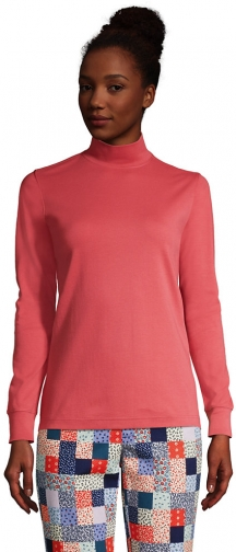 Lands' End Women's Relaxed Cotton Long Sleeve Mock Turtleneck - Lands' End - Red - XS Shirt
