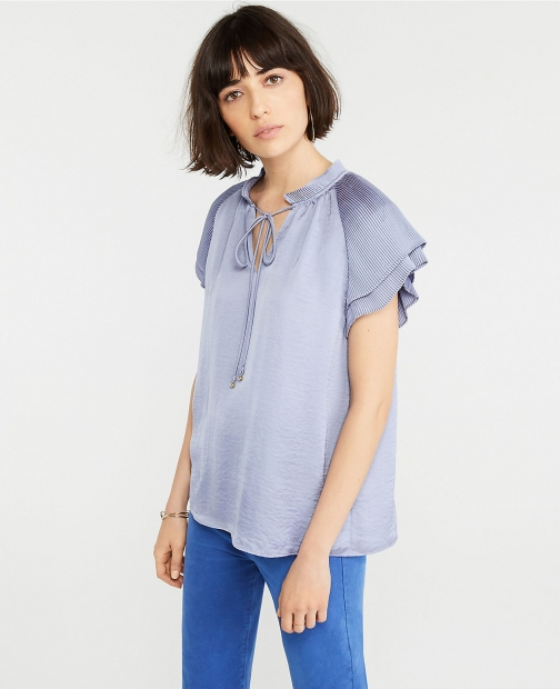 Ann Taylor Petite Pleated Flutter Sleeve Top