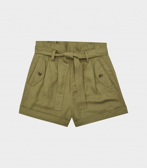 Reiss Lorena - Pleated Twill Olive, Womens, Size 4 Short