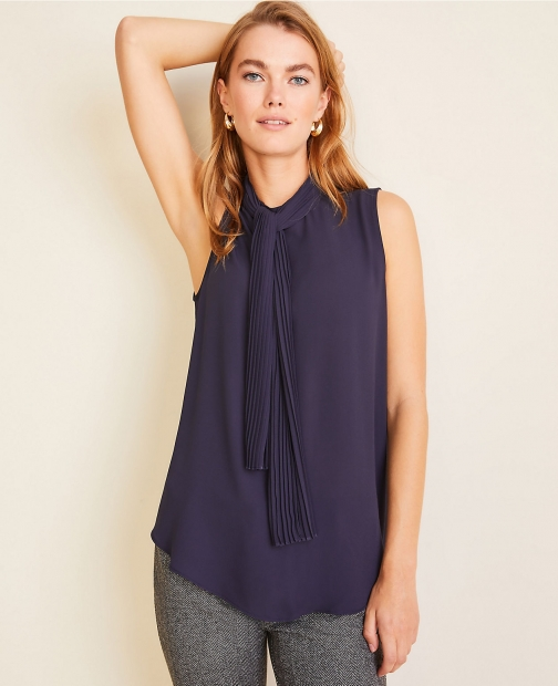 Ann Taylor Pleated Mock Neck Shell Tie