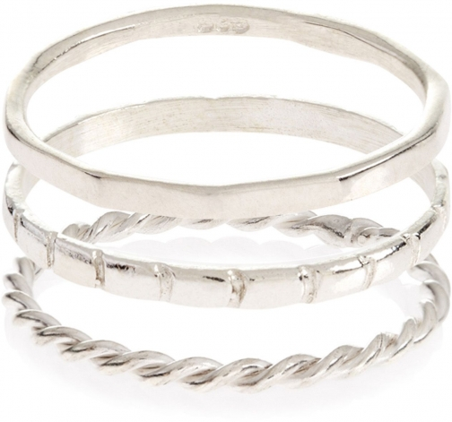 Accessorize Sterling Silver 3 X Band Stacking Ring