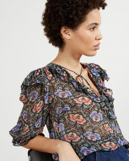 Ted Baker Printed Woven V-neck Top