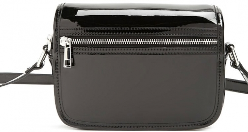 Forever21 Forever 21 Faux Patent Leather Crossbody , Black Crossbody Bag