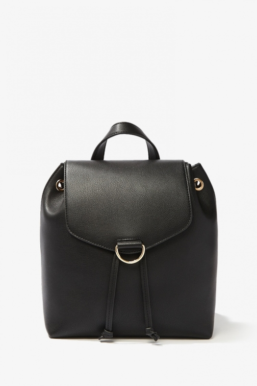 Forever21 Forever 21 Faux Leather Flap-Top , Black Backpack