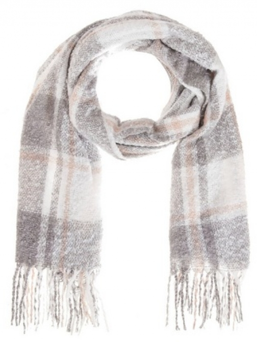 Quiz Pink And Grey Check Knitted Scarf